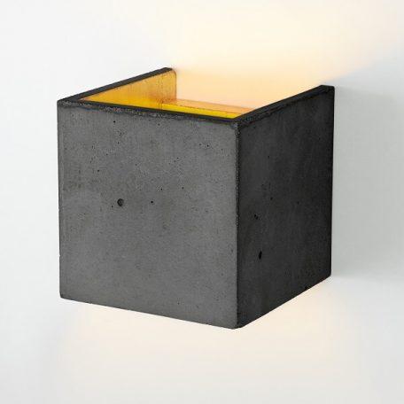 GANTlights B3 wandlamp van beton donkergrijs - goud (aan)