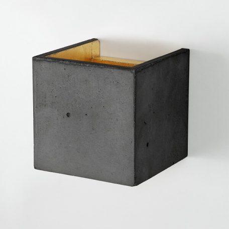 GANTlights B3 wandlamp van beton donkergrijs - goud (uit)