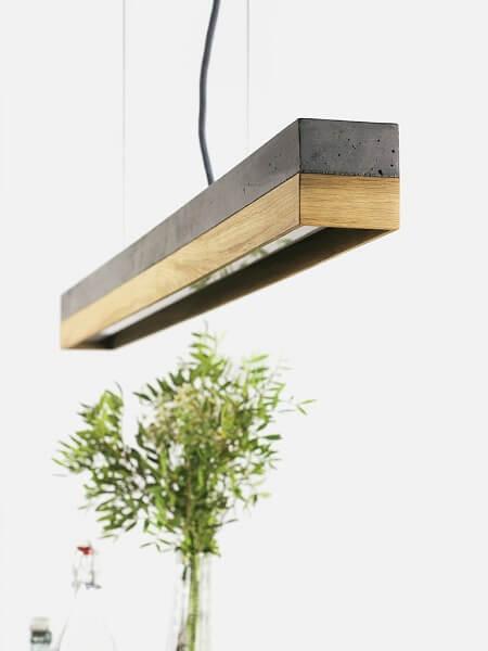 GANTlights C1 - GANT lights C1 hanglamp van donkergrijs beton en eiken