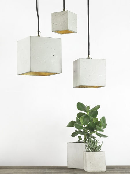 GANTlights B5 - GANT lights B5 vierkante hanglamp van beton, lichtgrijs