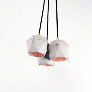 GANTlights T2 hanglampen van beton lichtgrijs 3x _KOPER