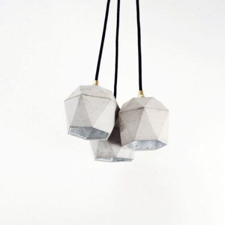 GANTlights T2 hanglampen van beton lichtgrijs 3x _ZILVER