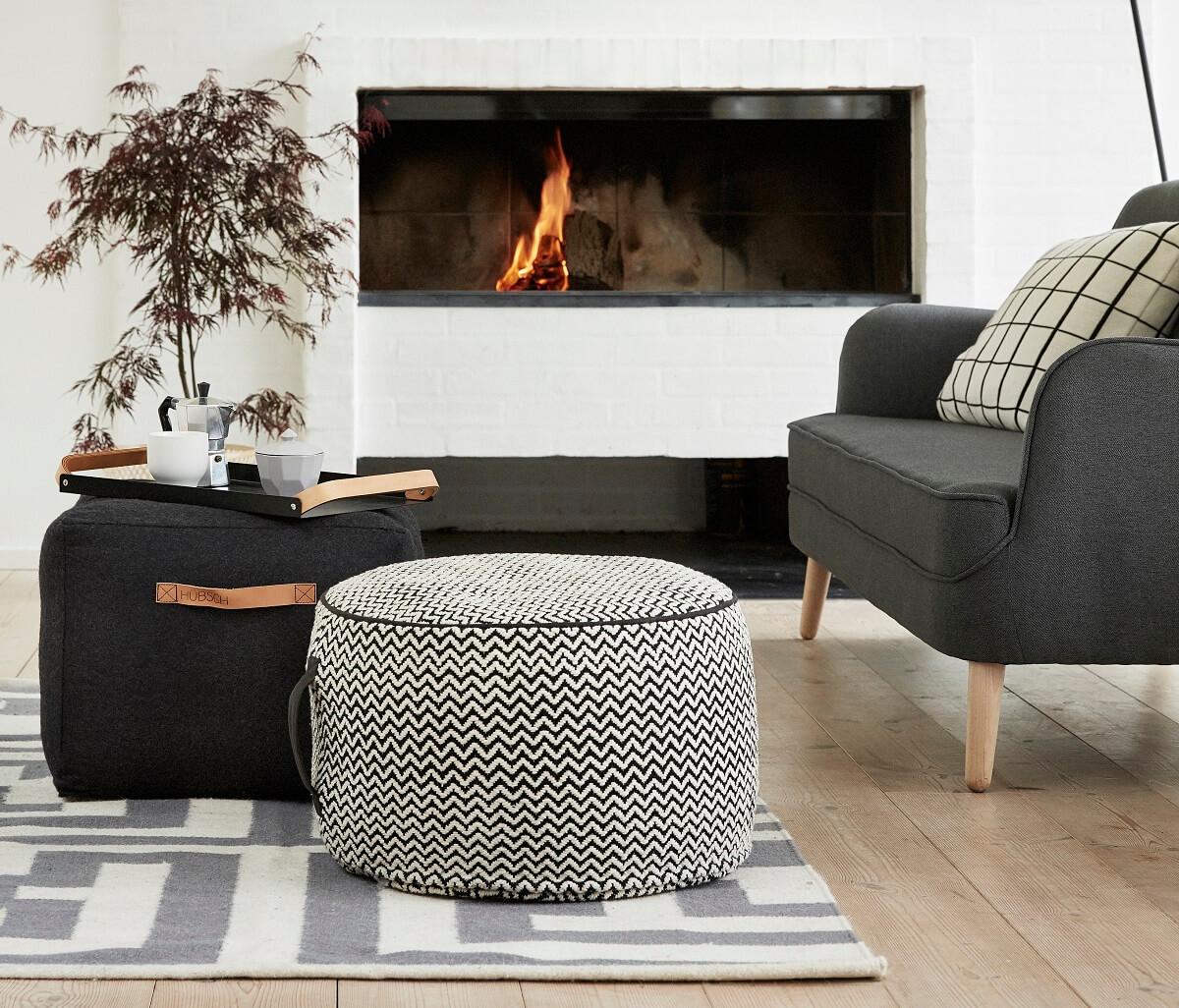 hubsch interior oversized poef van grijs. Black Bedroom Furniture Sets. Home Design Ideas