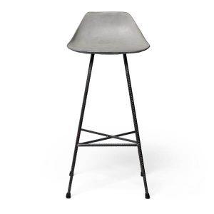 LYON BETON HAUTEVILLE H77 - barstoel van beton en metalen poten HOOG