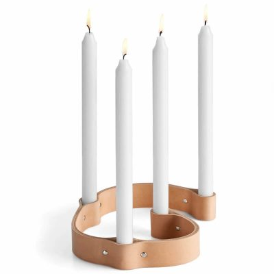 by WIRTH BELT 4 CANDLES - kaarsenstandaard van leer - naturel (1)