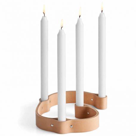 by WIRTH BELT 4 CANDLES - kaarsenstandaard van leer - naturel (1)