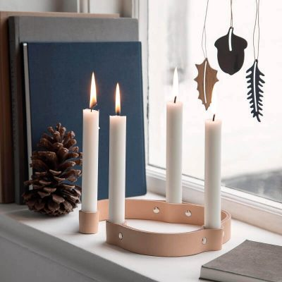 by WIRTH BELT 4 CANDLES - kaarsenstandaard van leer - naturel (4)