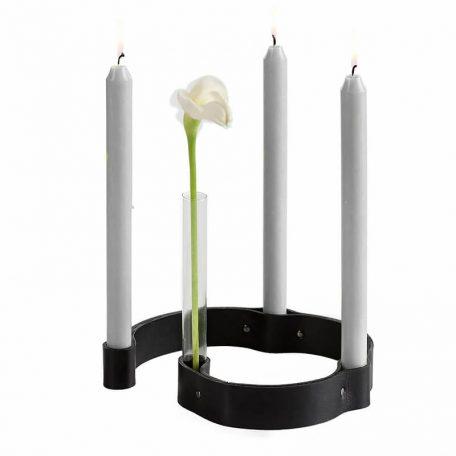 by WIRTH BELT 4 CANDLES - kaarsenstandaard van leer - zwart (2)