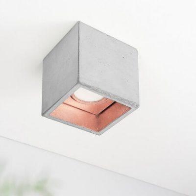 GANTlights B7, plafondlamp spot beton lichtgrijs KOPER
