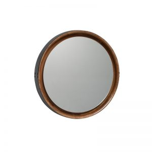 MATER DESIGN SOPHIE - spiegel rond, hout en leer LARGE Naturel - Zwart leer (1)