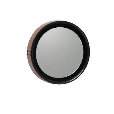 MATER DESIGN SOPHIE - spiegel rond, hout en leer SMALL Zwart - Bruin leer (1)