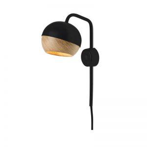 MATER Design RAY - Zwarte wandlamp van metaal, met eiken kap