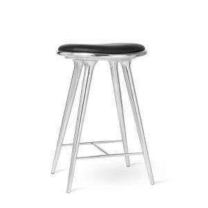 Mater Design HIGH STOOL – Geborsteld aluminium barkruk met zwart leren zitting – H69 - 01024