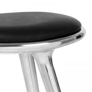 Mater Design HIGH STOOL – Geborsteld aluminium barkruk met zwart leren zitting