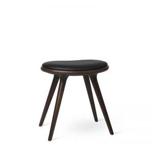 Mater Design LOW STOOL - Barkruk van donker beuken met zwart leren zitting - H47cm - 01003