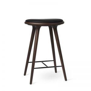 Mater Design HIGH STOOL - Barkruk van donker beuken met zwart leren zitting - H69cm