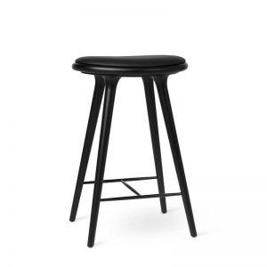 Mater Design HIGH STOOL - Barkruk van zwart beuken met zwart leren zitting - h69cm - 01014