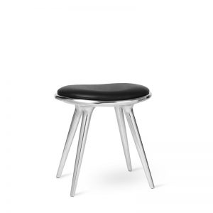 Mater Design LOW STOOL - Kruk van aluminium en zwart leren zitting - 01023