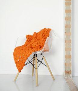 VACHT VAN VILT grofgebreide plaid Dutch Orange