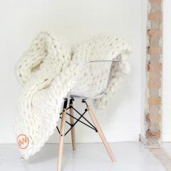 VACHT VAN VILT grofgebreide plaid Off white - Gebroken wit