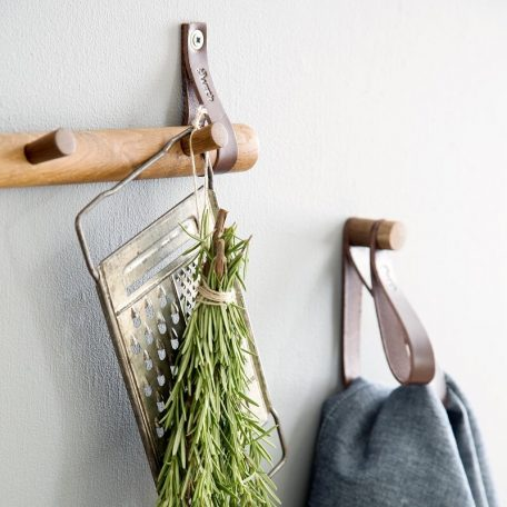 By WIRTH RACK 4 DOTS - eiken houten kapstok met vier haken - 52cm - GEROOKT