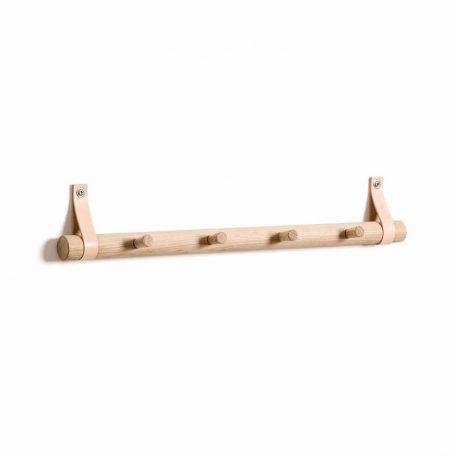 By WIRTH RACK 4 DOTS - eiken houten kapstok met vier haken - 52cm - NATUREL