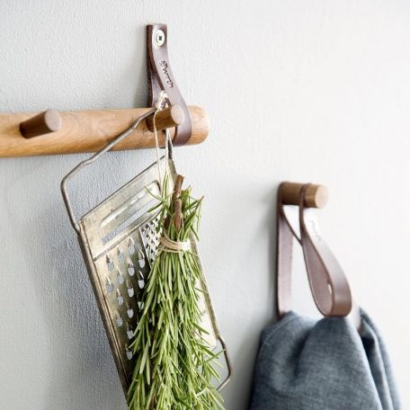 by WIRTH DOUBLE LOOP - leren wandhaak, hanger, ophanglus - Gerookt eiken