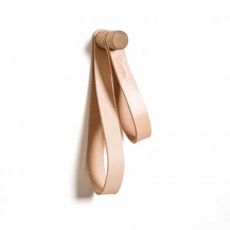 by WIRTH DOUBLE LOOP - leren wandhaak, hanger, ophanglus - Naturel eiken