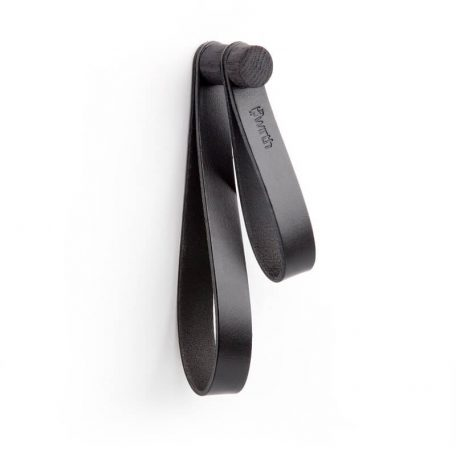 by WIRTH DOUBLE LOOP - leren wandhaak, hanger, ophanglus - Zwart eiken