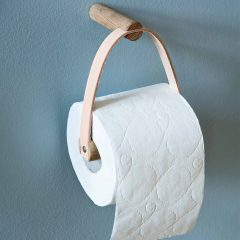 byWIRTH ROLL Toiletrolhouder Naturel eiken en leer