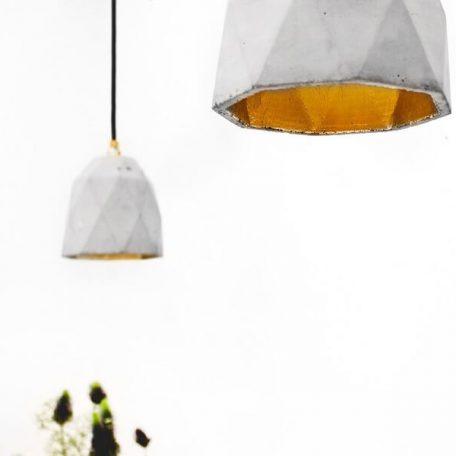 GANTlights T1 Hanglamp Beton lichtgrijs_goud