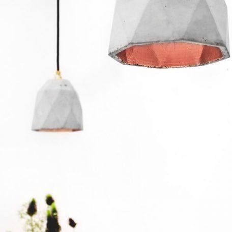 GANTlights T1 Hanglamp Beton lichtgrijs_koper
