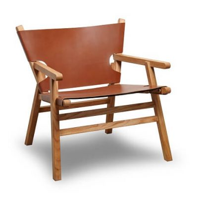 Gejst LEAN ON ME Lounge Chair - armstoel van cognac leer en naturel eiken (926)