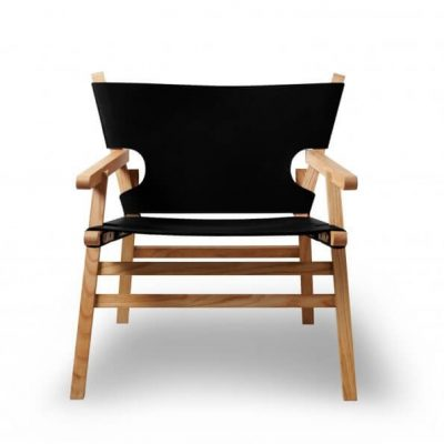GEJST LEAN ON ME Lounge Chair - armstoel van zwart leer en naturel eiken (927)