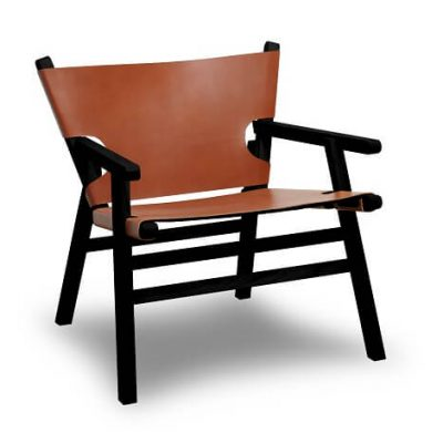 GEJST LEAN ON ME Lounge Chair - armstoel van cognac leer en zwart eiken (928)