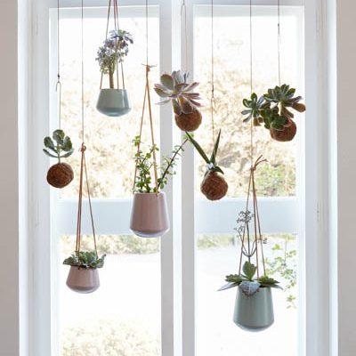 HUBSCH INTERIOR - keramische hangpotten met leren band Deze leuke hippe hangpotten met leren band van Hubsch Interior passen in elk botanisch interieur. Planten zijn een belangrijke woontrend. Hoe meer planten in je interieur hoe beter. Deze hangpot van Hubsch Interior past perfect in jouw interieur.