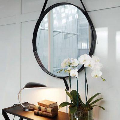 GUBI ADNET – Ronde spiegel van zwart leer - LARGE (1)