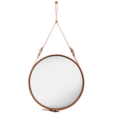 GUBI ADNET - Ronde spiegel van bruin leer LARGE