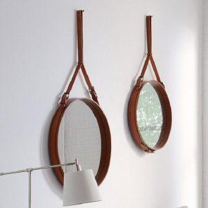 GUBI ADNET - Ronde spiegel van bruin leer SMALL en MEDIUM