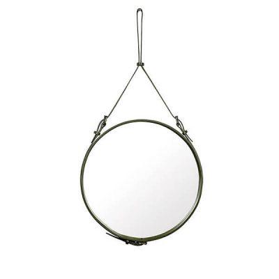 GUBI ADNET - Ronde spiegel van olijfgroen leer (1)