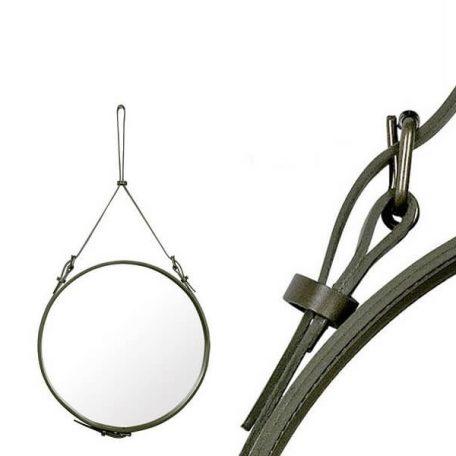 GUBI ADNET - Ronde spiegel van olijfgroen leer (3)