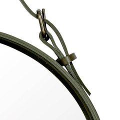 GUBI ADNET - Ronde spiegel van olijfgroen leer (4)