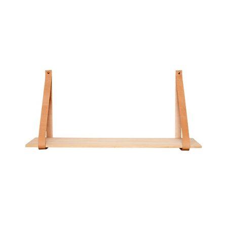 HUBSCH INTERIOR - Houten wandplank met leren banden (379001)