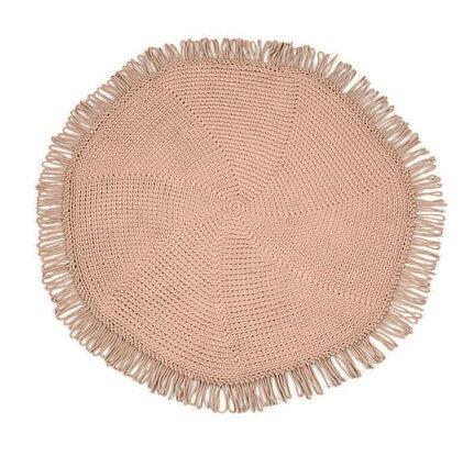 SANFATES CUT CARPET - rond gehaakt vloerkleed  130cm - CACAO