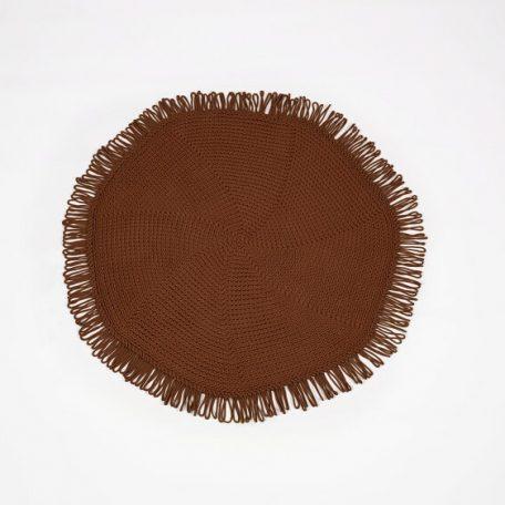 SANFATES CUT CARPET - rond gehaakt vloerkleed  130cm - Chocolate_Chocolade Bruin