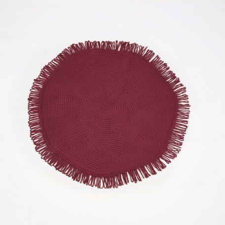 SANFATES CUT CARPET - rond gehaakt vloerkleed  130cm - Ruby_Robijn Rood