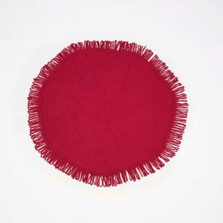 SANFATES CUT CARPET - rond gehaakt vloerkleed  130cm - Red_Rood