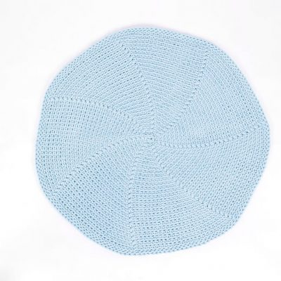 SANFATES LIT CARPET, gehaakt vloerkleed rond 70cm, lichtblauw