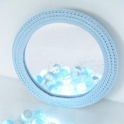 SANFATES MIRROR - Spiegel met gehaakte rand voor de kinderkamer - LICHT BLAUW