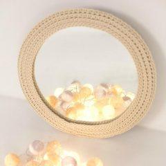 SANFATES MIRROR - Spiegel met gehaakte rand voor de kinderkamer - MELKWIT